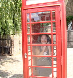 Inside the red phone booth